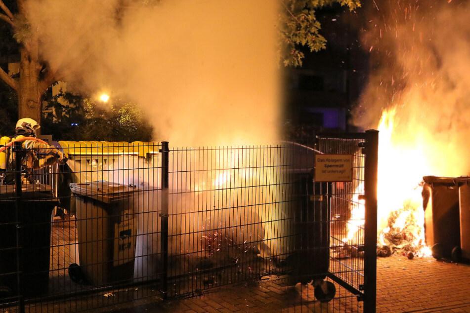 Feuerwehr mit turbulenter Nacht: Mehrere Müllcontainer in Brand gesteckt!