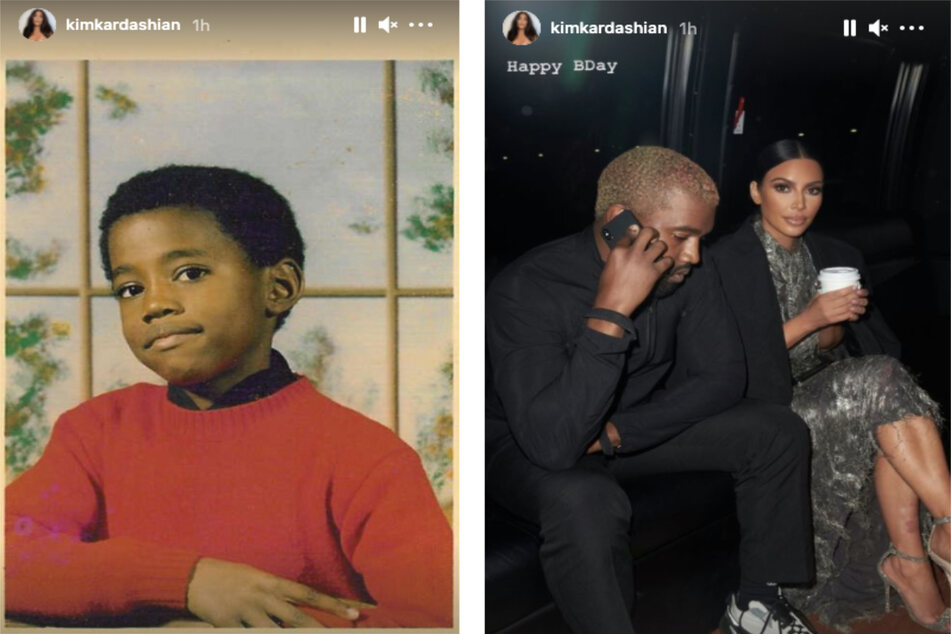 """Kim shared a childhood shot of Kanye (l.) on her Instagram story with the caption """"1987"""" and a balloon emoji, and also highlighted a photo of the former couple (r.)."""