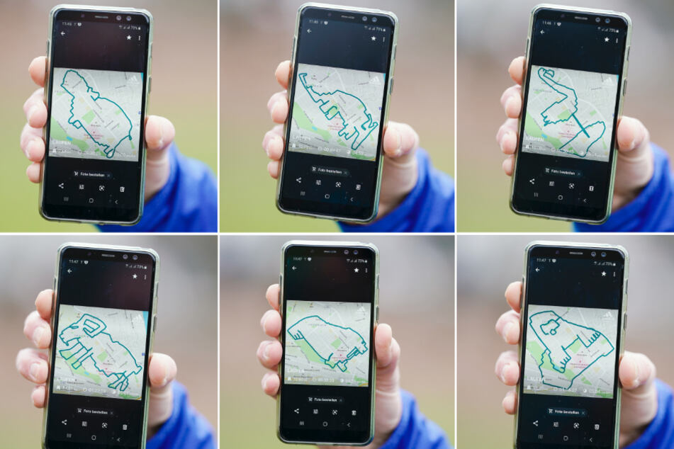 Norbert Asprion hält im Ebertpark sein Mobiltelefon mit Bildern der von ihm gelaufenen Wegstrecken in Form eines Nilpferds (oben, l-r), Erdferkels und Flamingos, sowie eines Steinbocks (unten, l-r), Maulwurfs und Walross in den Händen. (Bildkombo)