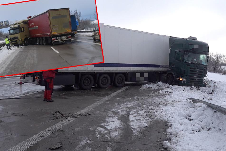 Da stellt sich auch der Brummi quer: Glatteis sorgt für Staus auf Sachsen-Anhalts Autobahnen