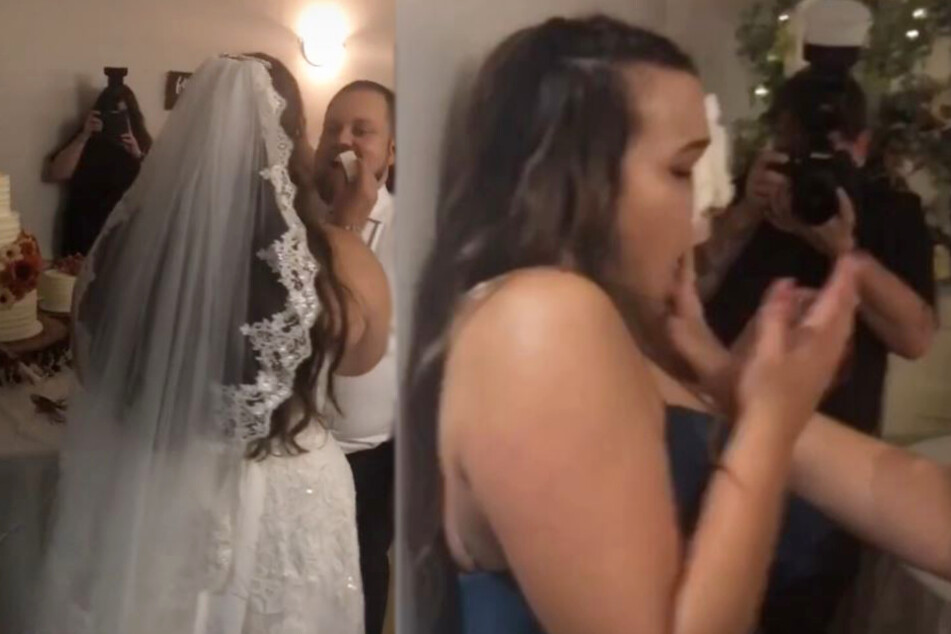 Maid of honor gets the first slice of the wedding cake – in her face!