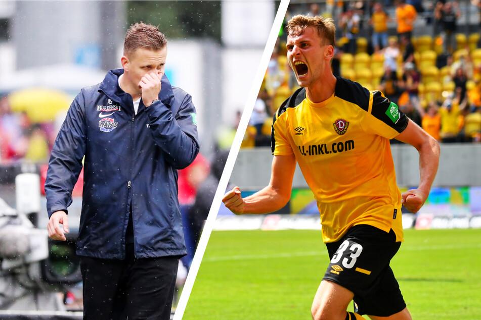 Während der FC Erzgebirge Aue um Coach Aleksey Shpilevski (33, l.) als Tabellenletzter Boden gutmachen muss, hat sich Dynamo Dresden um Stürmer Christoph Daferner (23) ein Polster erarbeitet.