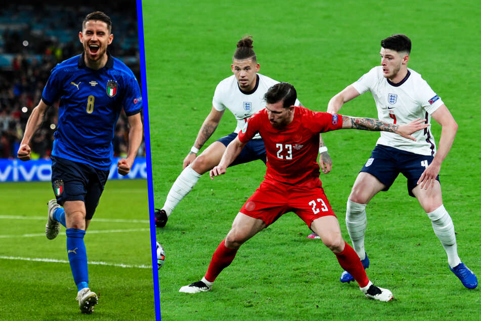 Jorginho (29, l.) ist der Denker und Lenker des italienischen Spiels. Bei England steht die Doppelsechs Kalvin Phillips (25, 2.v.l.) und Declan Rice (22, r.) richtig gut.