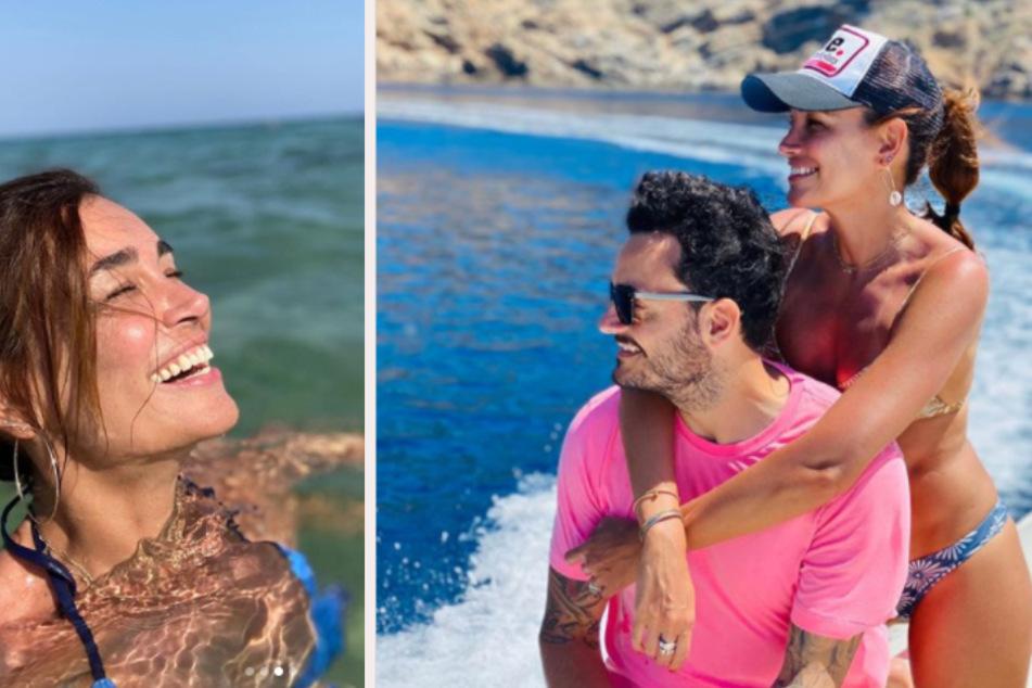 Jana Ina Zarrella (43) war mit Ehemann Giovanni (42) aus Sardinien unterwegs. (Fotomontage)