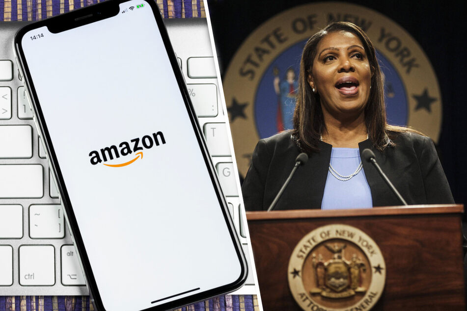New York Attorney General Letitia James (r.) is fighting back against Amazon's alleged attempts to silence its workers (collage, stock image).