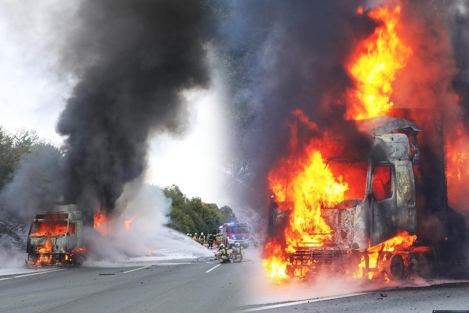 A4: Lastwagen steht lichterloh in Flammen!