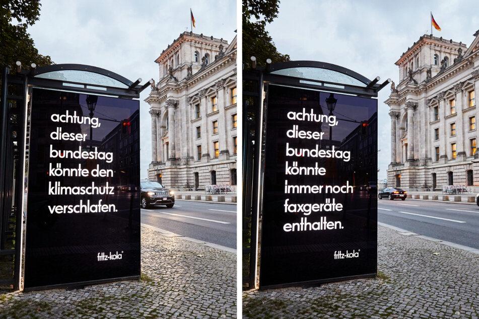 """Das Hamburger Unternehmen """"fritz-kola"""" macht mit Slogans wie diesen auf die Bundestagswahl und wichtige Themen wie Klimaschutz und Digitalisierung aufmerksam."""