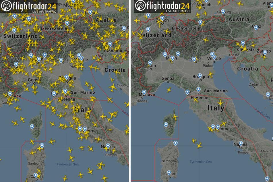 Besonders betroffen von der Corona-Krise: Italien und Österreich (links: 26. Februar, rechts:. 25. März)