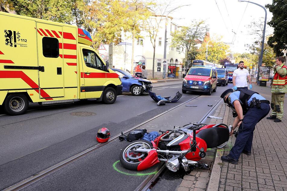 Das Motorrad wurde in den Gegenverkehr geschleudert.