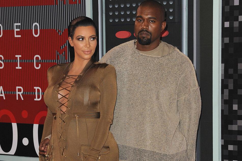 Kim Kardashian with Kanye West at the 2015 MTV Video Music Awards.