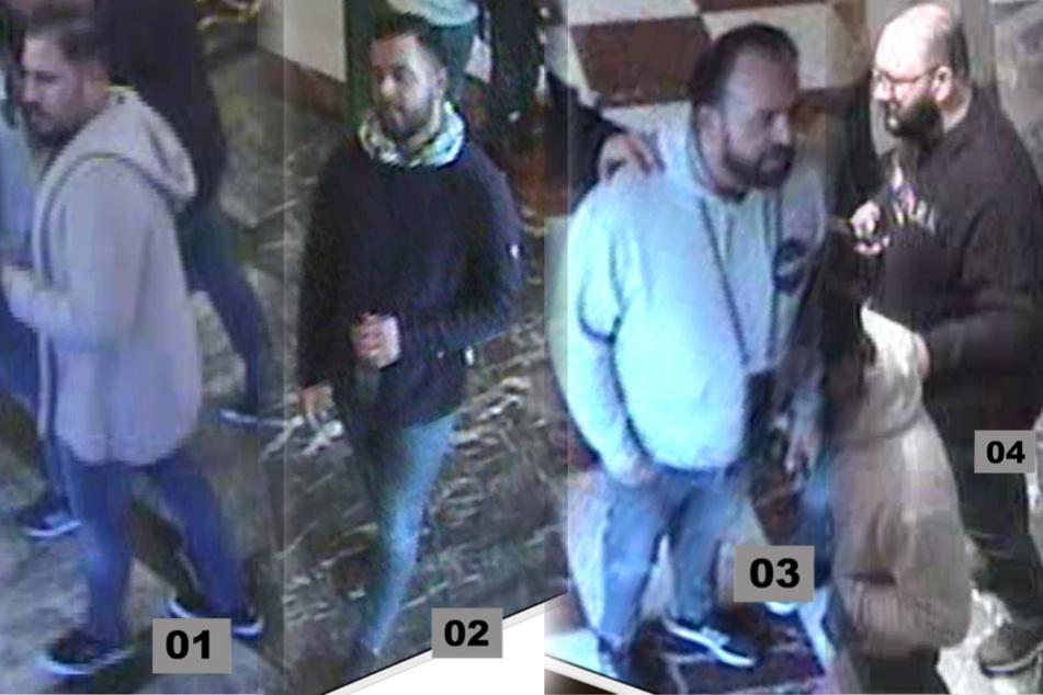 Einzelbilder der Kameraaufnahmen zeigen die vier Tatverdächtigen im Detail.