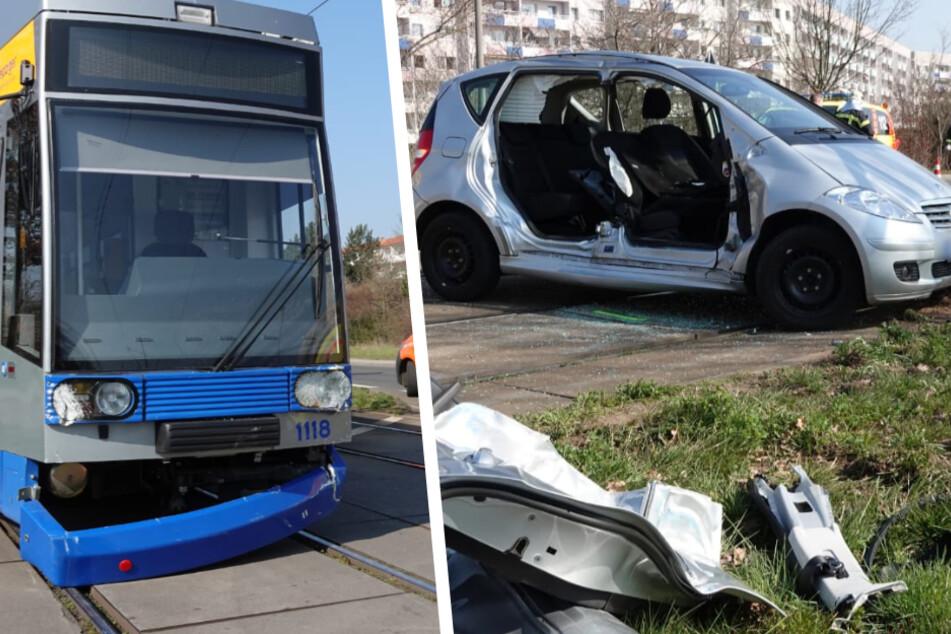 Leipzig: Straßenbahn kracht in Mercedes, Beifahrerin eingeklemmt