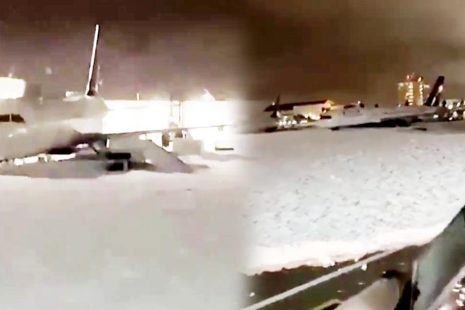 Heftige Panne: Überall Schaum, Flugzeuge gehen baden!