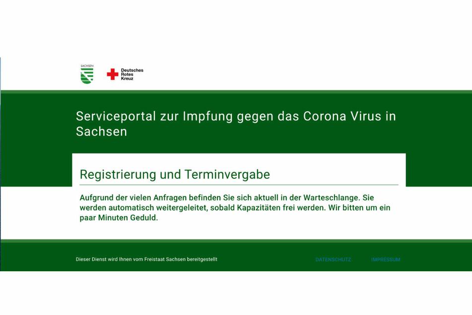 Diese Meldung erscheint für viele Sachsen, wenn sie sich online für einen Impftermin registrieren möchten.