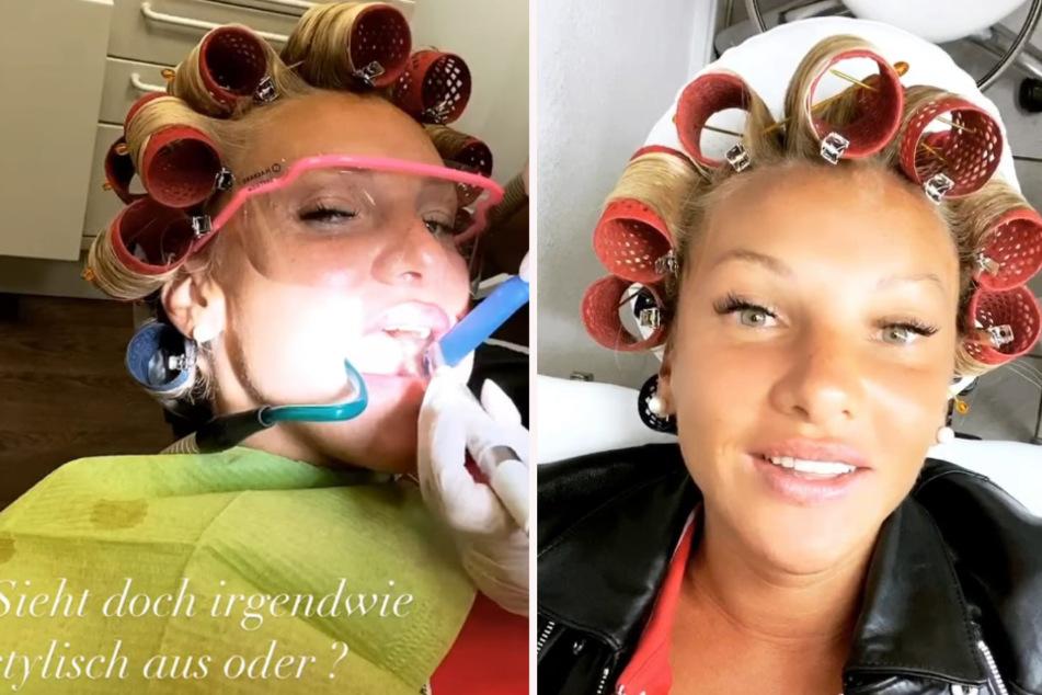 Evelyn Burdecki (31) war mit dem Kopf voller Lockenwickler beim Zahnarzt.