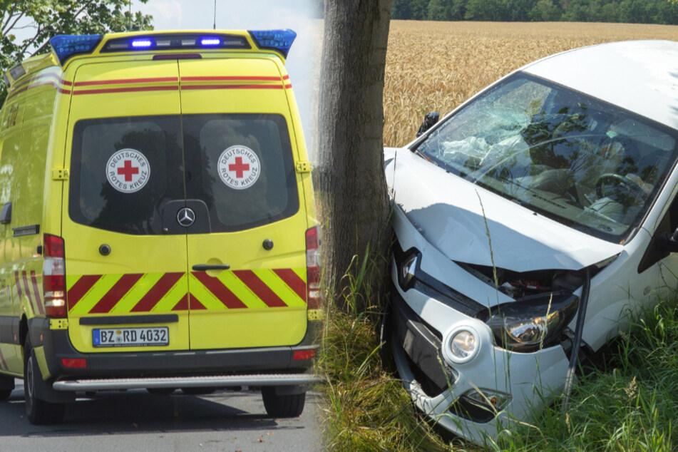 Frau rast östlich von Dresden gegen Baum und kommt schwer verletzt in Klinik