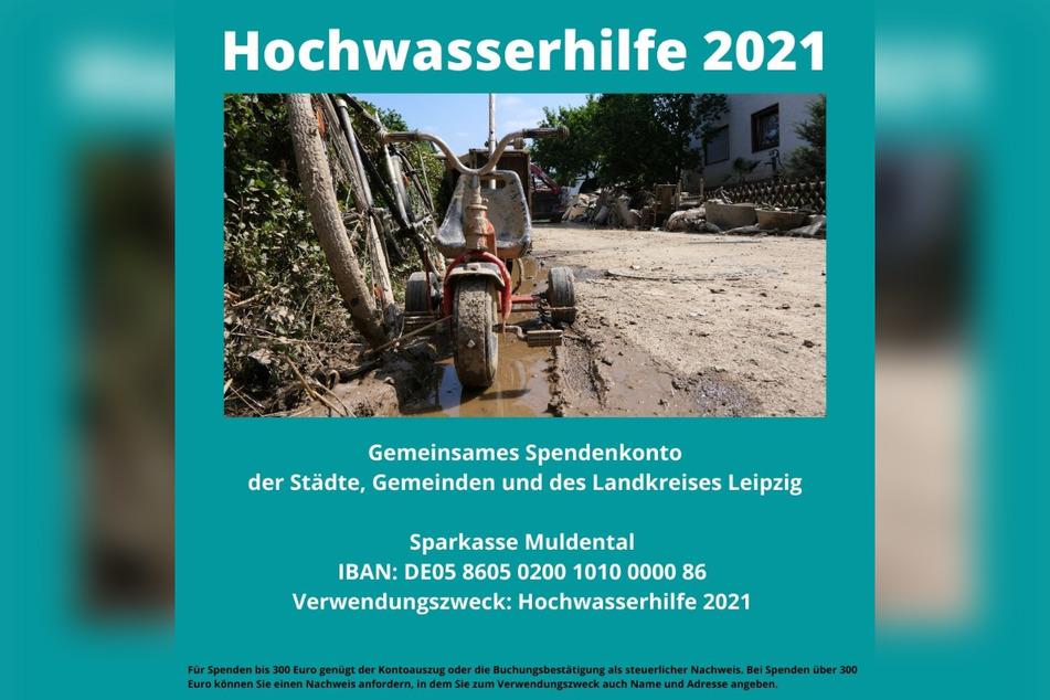 Es wurde ein gemeinsames Spendenkonto der Städte, Gemeinden und des Landkreises Leipzig eingerichtet.