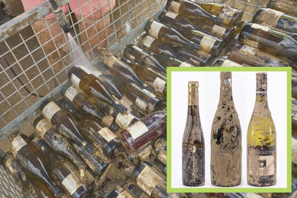 """Während viele Winzer ihre Weinflaschen mühevoll vom Schlamm reinigen, bleiben die """"Flutweine"""" (kleines Foto) """"originalverschlammt""""."""