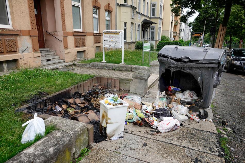 Auch auf dem Kaßberg an der Barbaraossastraße brannten Müllcontainer.