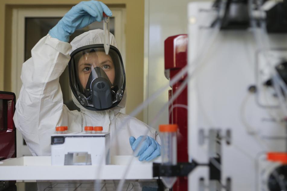 Die vom russischen Investmentfonds Russian Direct Investment Fund zur Verfügung gestellte Aufnahme zeigt eine Mitarbeiterin des Nikolai Gamaleya Nationalzentrums für Epidemiologie und Mikrobiologie, während sie ein Reagenzglas mit einem neuen Impfstoff gegen das Coronavirus in ihrer Hand hält.