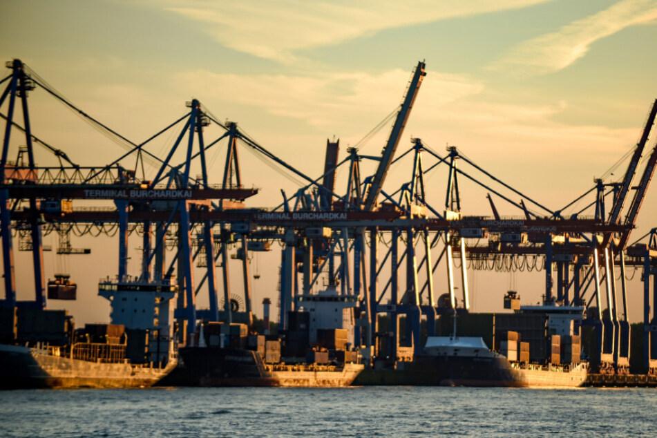 Containerschiffe werden im Hamburger Hafen bei untergehender Sonne abgefertigt.