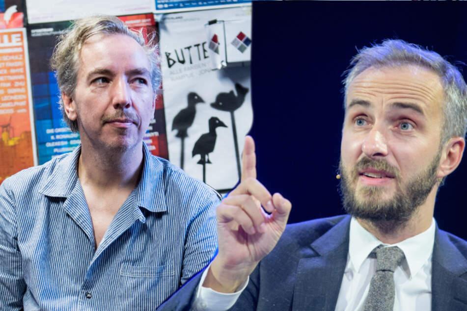 """Jan Böhmermann (rechts) und Olli Schulz nehmen gemeinsam den Podcast """"Fest & Flauschig"""" auf."""