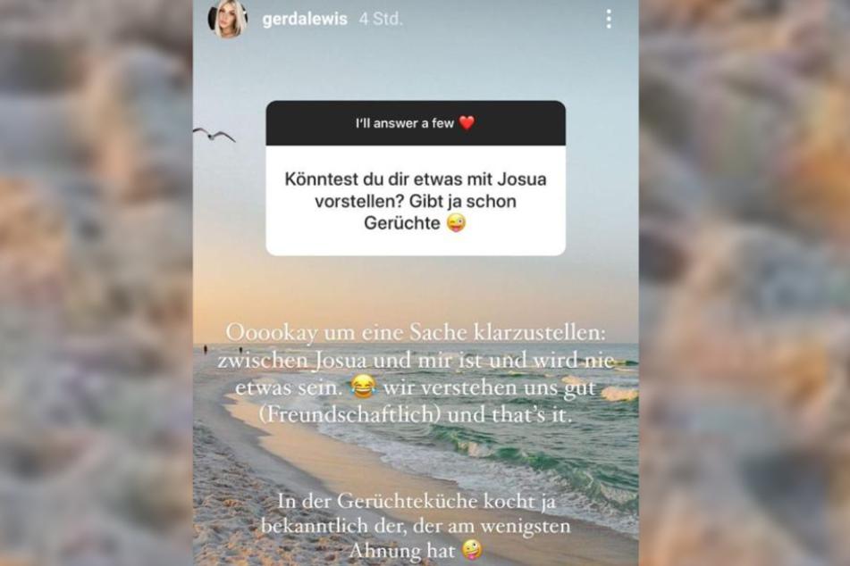 Gerda Lewis (27) räumt mit den Liebes-Gerüchten um sie und Josua Günther (23) auf.