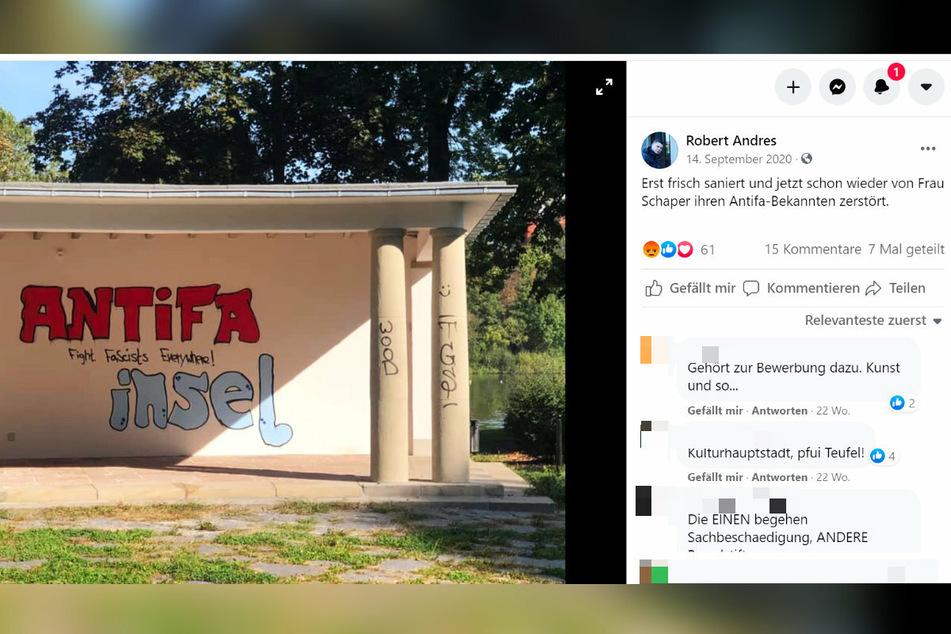 Die Graffiti-Attacke am Schlossteich-Pavillon brachte der Stadtrat in einem Facebook-Beitrag mit Susanne Schaper in Verbindung.