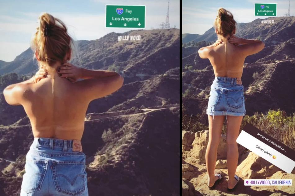 Evelyn Burdecki (32) steht oben ohne vor dem berühmten Hollywood-Schriftzug. (Fotomontage)