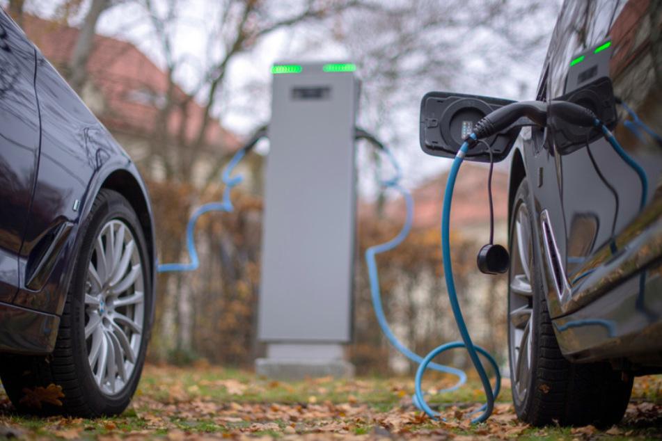Zwei Elektroautos werden an einer öffentlichen Ladesäule geladen.