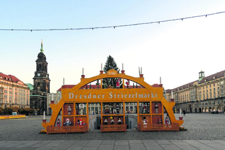 Der Dresdner Striezelmarkt fällt aufgrund der Corona-Pandemie in diesem Jahr aus.