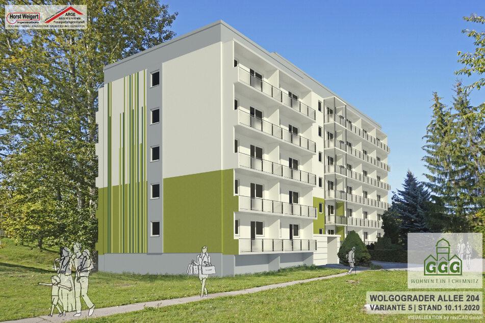 Dieser Wohnblock (Visualisierung) an der Wolgograder Allee erhält im kommenden Jahr neue Fenster, Türen und erstmals Balkone.