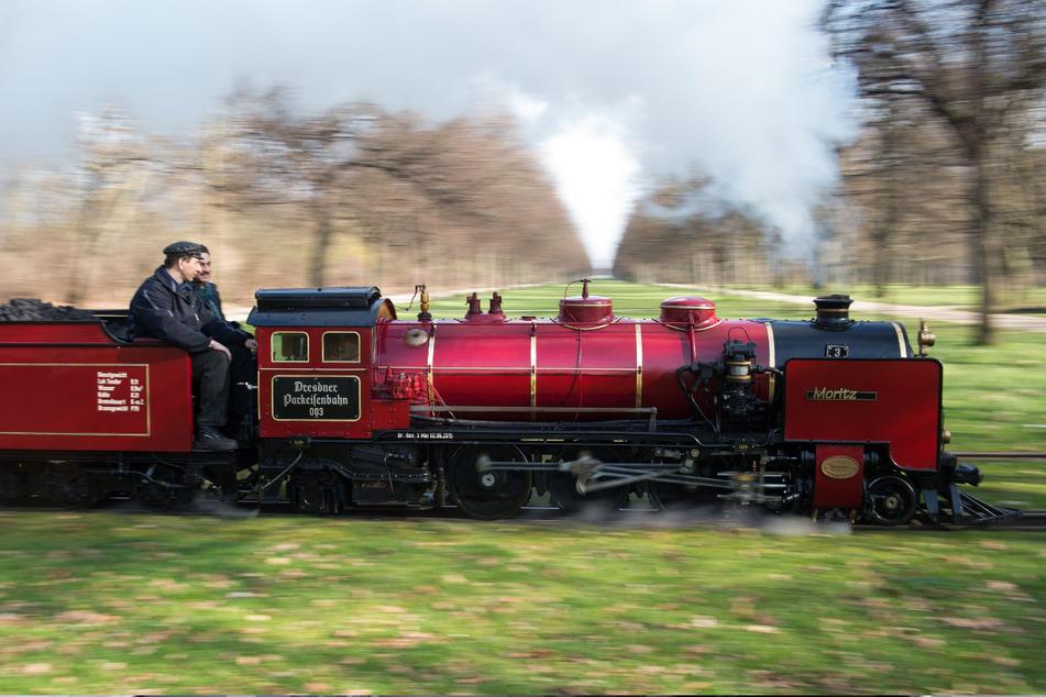 Eine Dampflok der Dresdner Parkeisenbahn fährt durch den Großen Garten in Dresden.