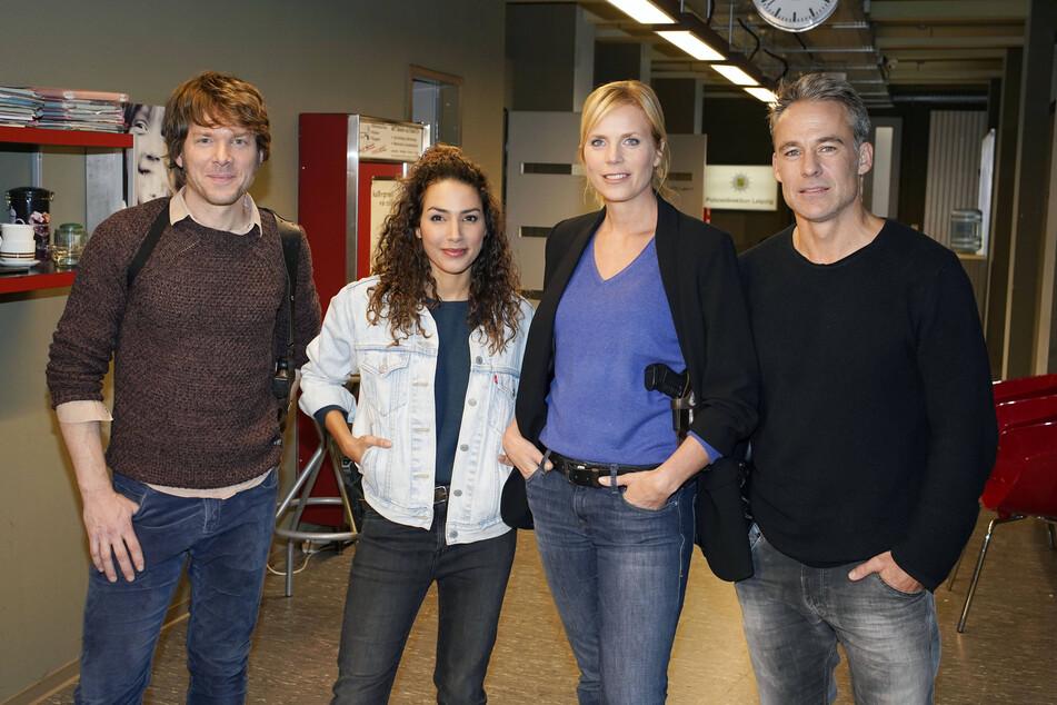 Steffen Schroeder, Amy Mußul, Melanie Marschke und Marco Girnth am Set der 400. Folge der ZDF Krimiserie SOKO Leipzig, die im November 2018 in der Messestadt gedreht wurde.