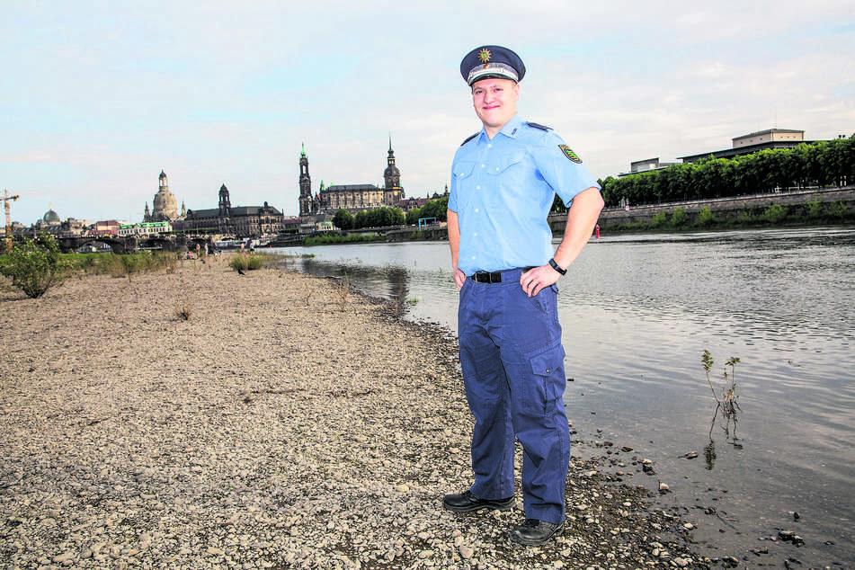 Polizeikommissar Tom Tschernich (25) rettete die beiden Mädchen vor dem Ertrinken.