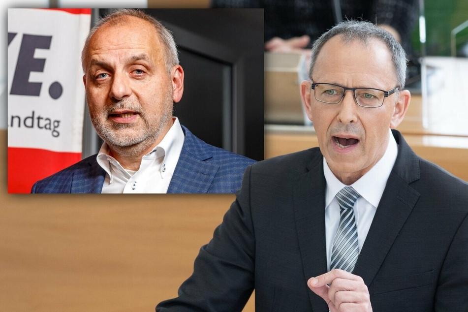 AfD-Fraktions-Chef Jörg Urban (57, r.) will gegen die Landesregierung klagen, der Linken-Fraktionsvorsitzende Rico Gebhardt (58, l.) bemängelt, dass die neue Verordnung ohne Beteiligung des Parlaments entstanden sei.