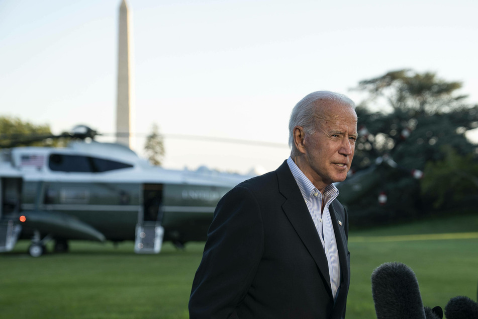 Joe Biden speaks with reporters on Tuesday before his trip to New York.