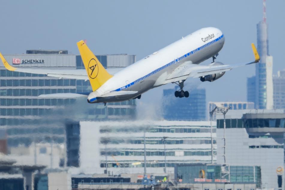 Ein Passagierflugzeug der Condor startet am Frankfurter Flughafen.
