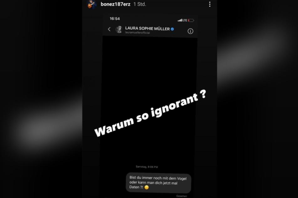 Bonez MC wundert sich in seiner Instagram-Story über die fehlende Antwort von Laura Müller auf seine Frage.