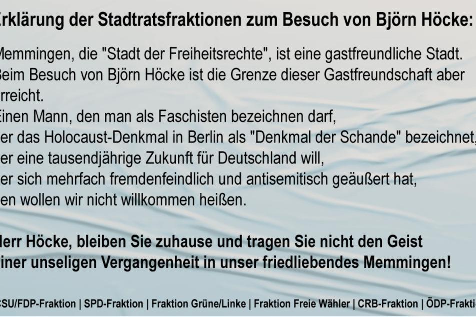 Die Botschaft der Erklärung ist eindeutig: Die anderen Parteien wollen Björn Höcke nicht in ihrer Stadt haben.