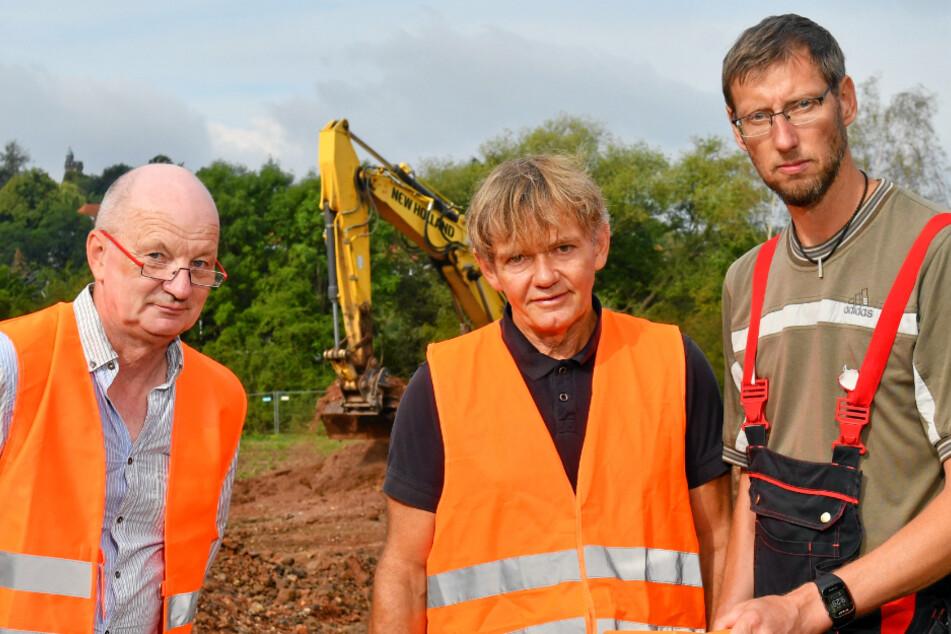 Verantwortlich vor Ort (v.l.): Sachgebietsleiter Bernd Richter (65) ,Projektleiter Holger Heiser (60) und Renè Baumert (44), radiologische Baubegleitung.