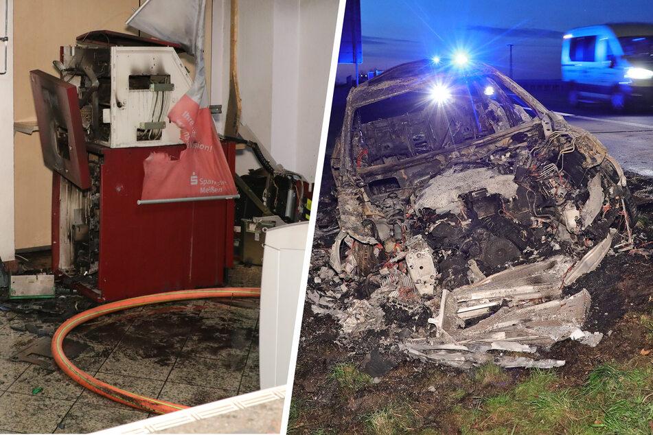 Geldautomat gesprengt und Fluchtwagen verbrannt! Polizei sucht Zeugen