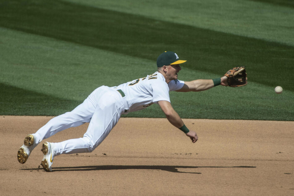 Athletics third baseman Matt Chapman went 1 for 2, scoring a run in the A's win over the Twins on Wednesday