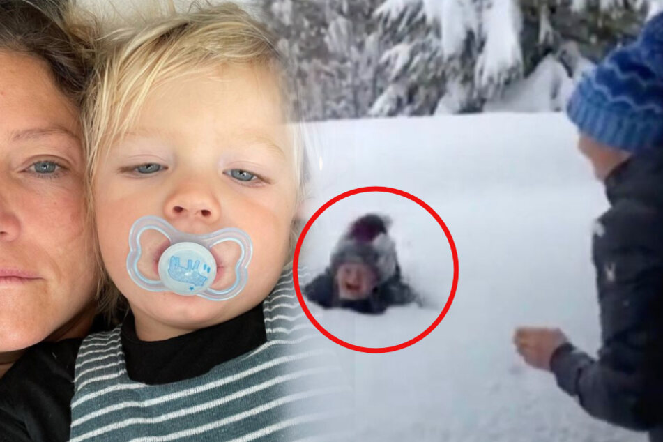 Retired Olympic skier faces internet backlash after introducing her son to snow for the first time
