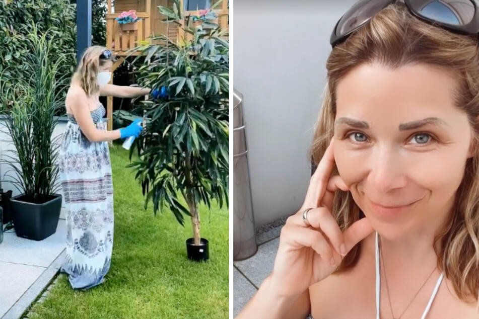 """Die frühere """"Alles was zählt""""-Darstellerin besprüht ihre Kunstpflanzen im Garten mit einem UV-Schutz aus dem Internet."""