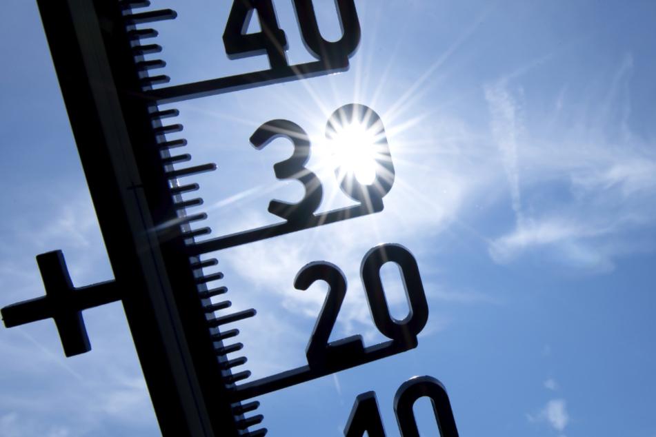 Ein Thermometer zeigt Temperaturen über 30 Grad an. (Archivbild)
