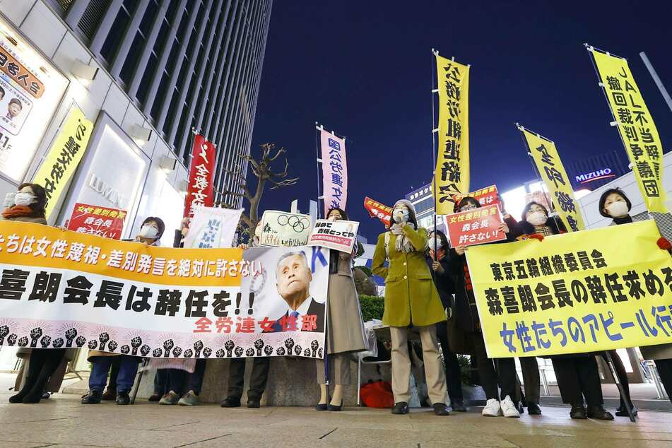 Female members of the Japanese National Confederation of Trade Unions protested Mori's sexist remarks and called for his resignation.