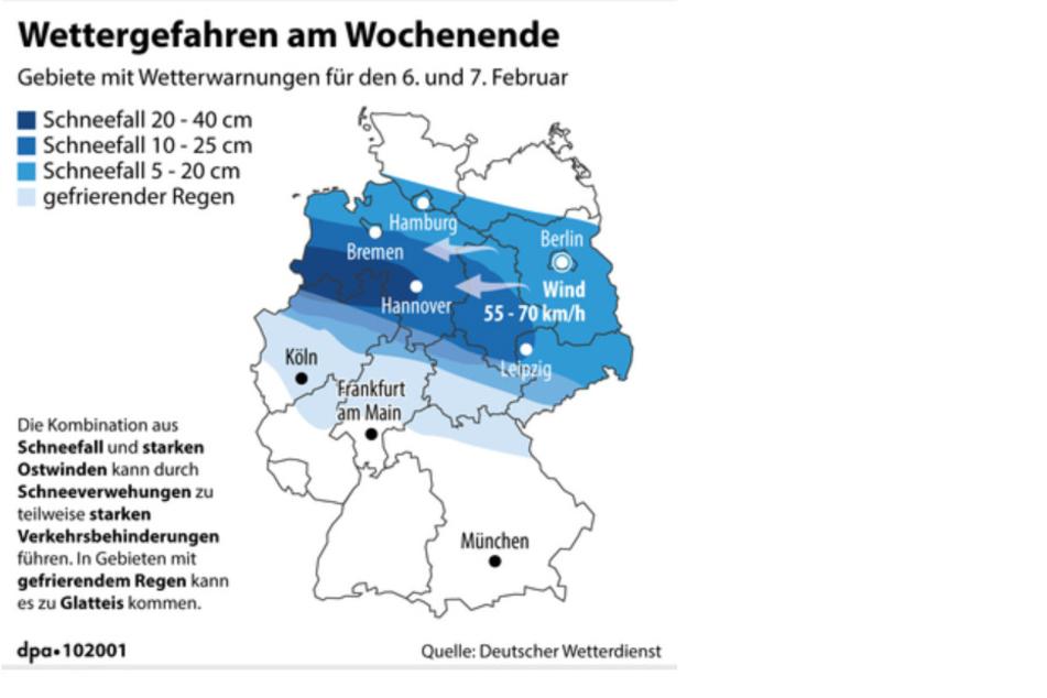 Die Wetterprognose des Deutschen Wetterdienstes vom Freitag. Noch ist nicht genau klar, wo in NRW der Wintereinbruch besonders hart eintrifft.