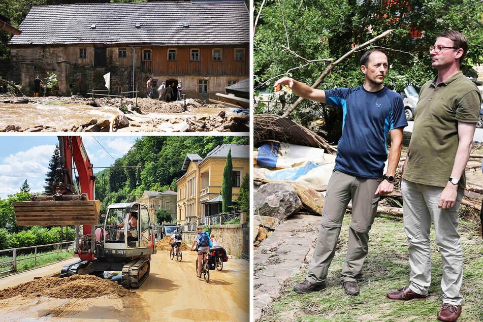 Sächsische Schweiz: Aufräumarbeiten nach Hochwasser beginnen, Touristen werden weggeschickt