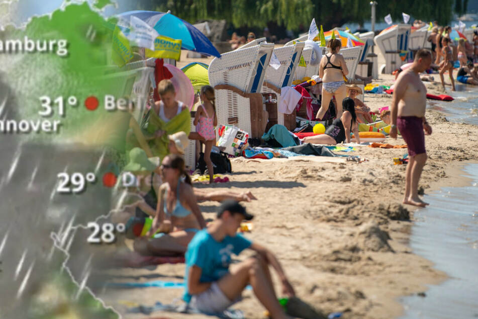 Zahlreiche Menschen genießen das sommerliche Wetter am Strandbad Wannsee.